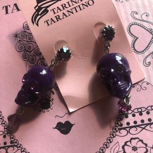 Tarina Tarantino Purple Skull Earrings
